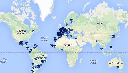 Localização das cidades educadoras no globo. Fonte: AICE