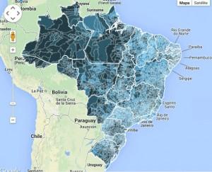 Quanto mais escura a cor, maior a quantidade de crianças fora da escola (Imagem: Unicef)