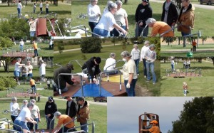 Alunos pintam ciranda de parque em projeto de intervenção na comunidade. Créditos: reprodução