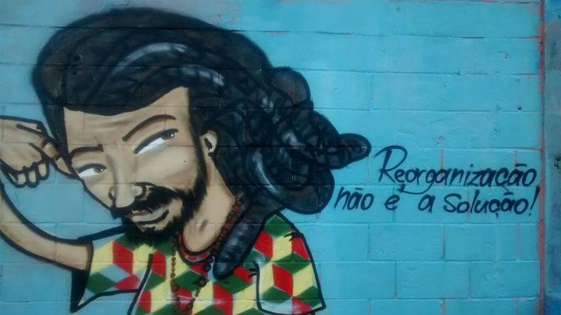 Mural pintado pelos estudantes da EE Salvador Allende na Zona Leste de São Paulo