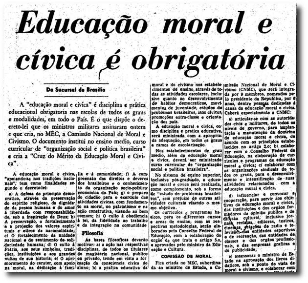 Notícia sobre a obrigatoriedade da disciplina de Educação Moral e Cívida/ Crédito: Arquivo Estadão