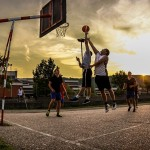 Street basketball at sunset