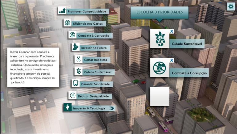 Uma das etapas do jogo Cidade em Jogo consiste em determinar prioridades
