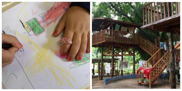 Criança desenha casa na árvore; casa na árvore de escola pública Dona Leopoldina