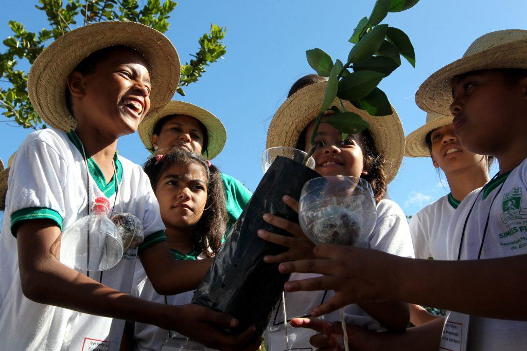 Crianças 'plantam' cápsula do tempo em quilombo de Simões Filho