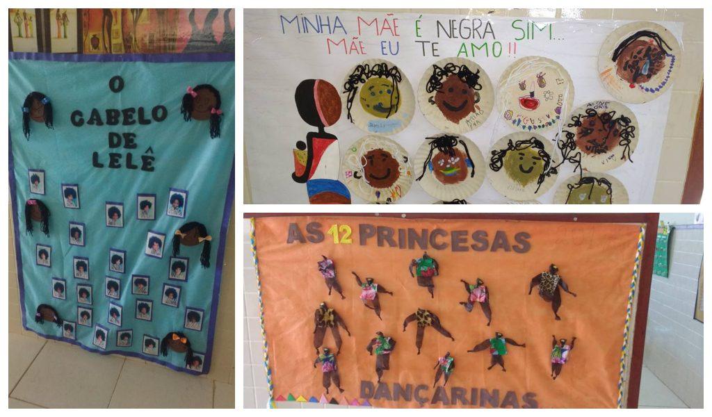 Cartazes na escola quilombola Dona Rosa Geralda da Silveira, educação quilombola