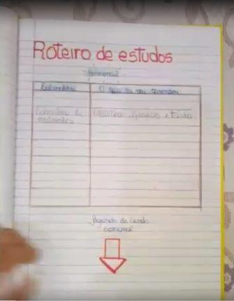 Em vídeo, estudante mostra seu diário de bordo.